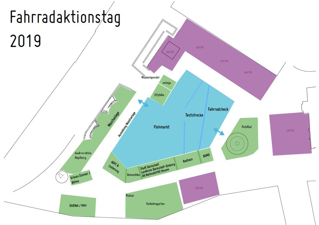 Lageplan Fahrradaktionstag Darmstadt 2019